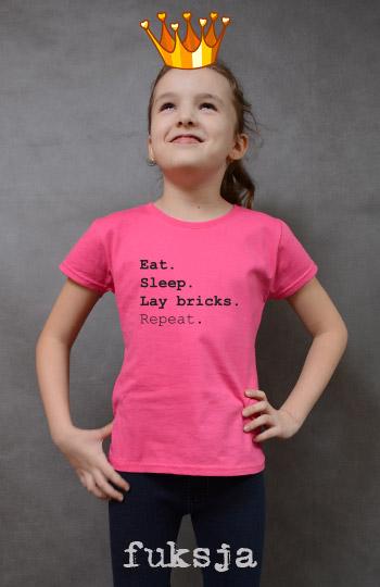 koszulka dziewczęca EAT SLEEP LAY BRICKS REPEAT kolor fuksja