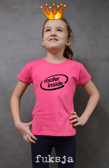 koszulka dziewczęca ROOFER INSIDE kolor fuksja
