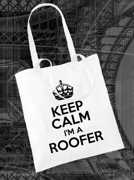 torba na zakupy KEEP CALM I'M A ROOFER kolor biały