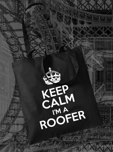 torba na zakupy KEEP CALM I'M A ROOFER kolor czarny