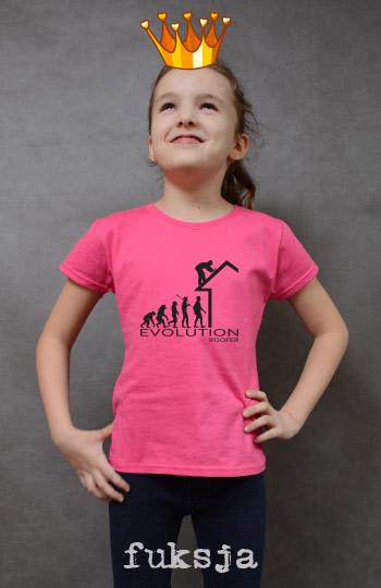 koszulka dziewczęca ROOFER EVOLUTION kolor fuksja