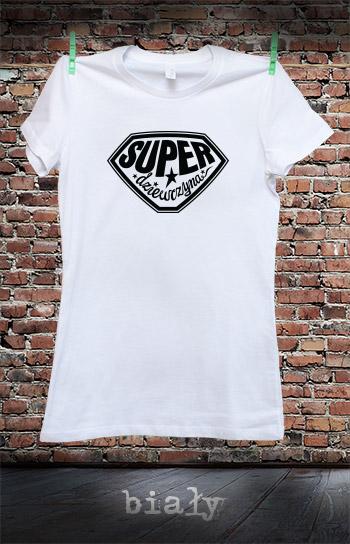 koszulka damska SUPER DZIEWCZYNA kolor biały