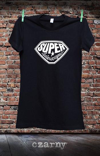 koszulka damska SUPER DZIEWCZYNA kolor czarny