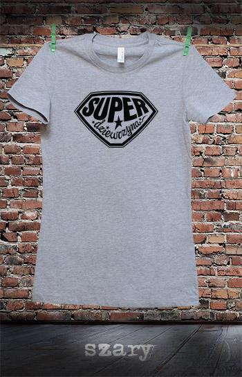 koszulka damska SUPER DZIEWCZYNA kolor szary