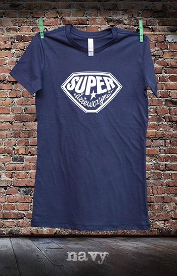 koszulka damska SUPER DZIEWCZYNA kolor navy