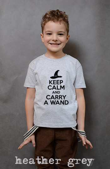 koszulka chłopięca KEEP CALM AND CARRY A WAND kolor heather grey