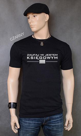 koszulka męska ZAUFAJ MI JESTEM KSIĘGOWYM kolor czarny