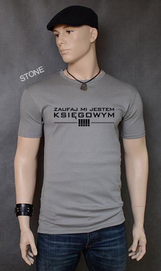 koszulka męska ZAUFAJ MI JESTEM KSIĘGOWYM kolor stone