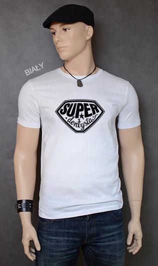 koszulka męska SUPER DENTYSTA kolor biały