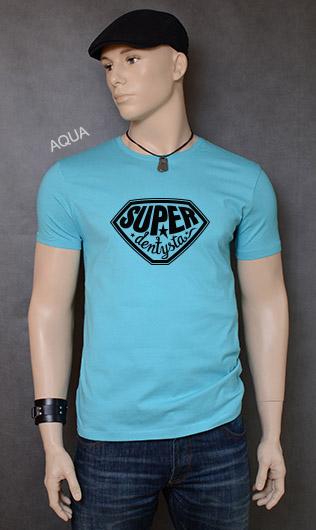koszulka męska SUPER DENTYSTA kolor aqua
