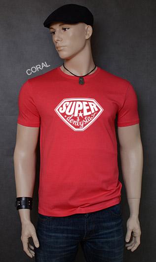 koszulka męska SUPER DENTYSTA kolor coral