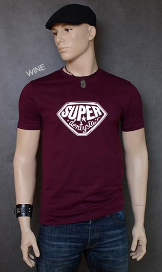 koszulka męska SUPER DENTYSTA kolor wine