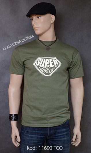 koszulka męska SUPER DOKTOR kolor klasyczna oliwka