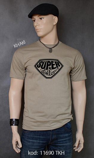 koszulka męska SUPER DOKTOR kolor khaki