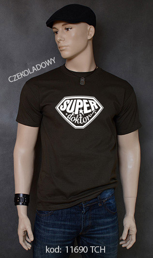koszulka męska SUPER DOKTOR kolor czekoladowy