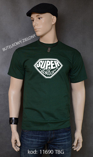 koszulka męska SUPER DOKTOR kolor butelkowy zielony