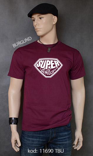 koszulka męska SUPER DOKTOR kolor burgund