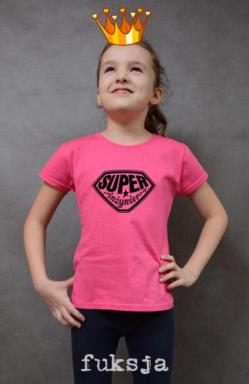 koszulka dziewczęca SUPER INŻYNIER kolor fuksja