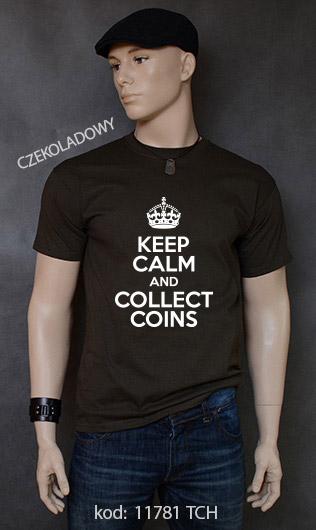 koszulka męska KEEP CALM AND COLLECT COINS kolor czekoladowy