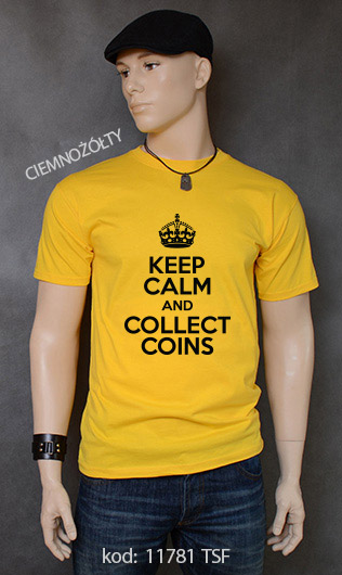 koszulka męska KEEP CALM AND COLLECT COINS kolor ciemnożółty