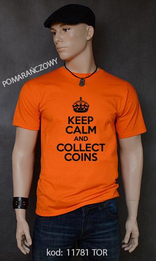 koszulka męska KEEP CALM AND COLLECT COINS kolor pomarańczowy
