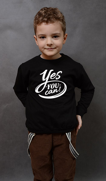 bluza dziecięca YES YOU CAN kolor czarny