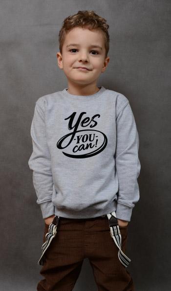 bluza dziecięca YES YOU CAN kolor szary