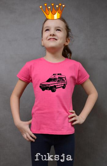 koszulka dziewczęca AMBULANS kolor fuksja