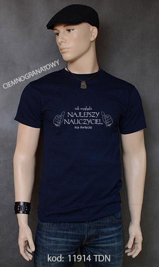 koszulka męska TAK WYGLĄDA NAJLEPSZY NAUCZYCIEL NA ŚWIECIE kolor ciemnogranatowy