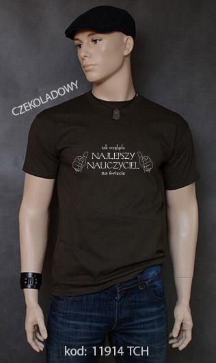 koszulka męska TAK WYGLĄDA NAJLEPSZY NAUCZYCIEL NA ŚWIECIE kolor czekoladowy