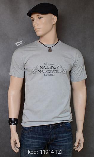 koszulka męska TAK WYGLĄDA NAJLEPSZY NAUCZYCIEL NA ŚWIECIE kolor zinc