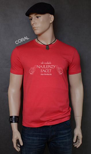 koszulka męska TAK WYGLĄDA NAJLEPSZY FACET NA ŚWIECIE kolor coral
