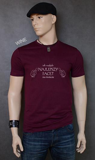 koszulka męska TAK WYGLĄDA NAJLEPSZY FACET NA ŚWIECIE kolor wine