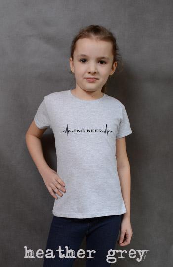 koszulka dziewczęca ENGINEER HEARTBEAT kolor heather grey