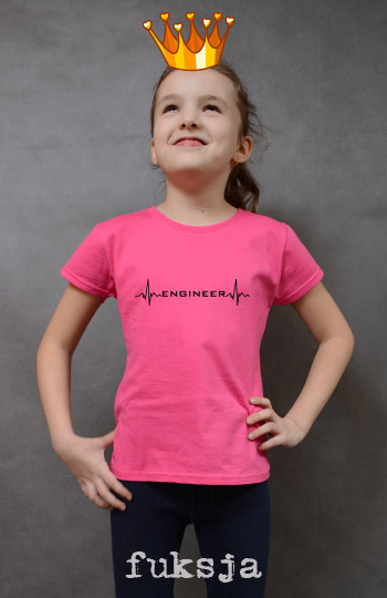 koszulka dziewczęca ENGINEER HEARTBEAT kolor fuksja