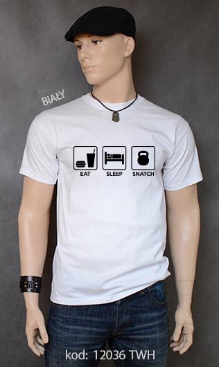 koszulka męska EAT SLEEP SNATCH kolor biały