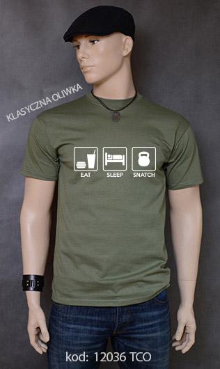 koszulka męska EAT SLEEP SNATCH kolor klasyczna oliwka