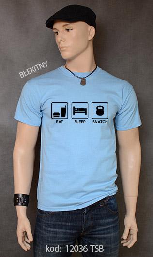 koszulka męska EAT SLEEP SNATCH kolor błękitny