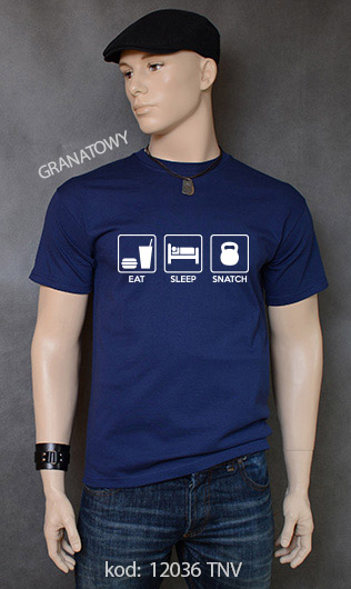 koszulka męska EAT SLEEP SNATCH kolor granatowy