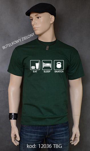 koszulka męska EAT SLEEP SNATCH kolor butelkowy zielony