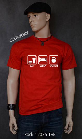 koszulka męska EAT SLEEP SNATCH kolor czerwony