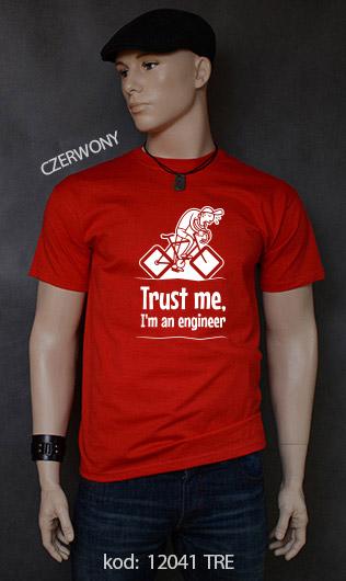 koszulka męska TRUST ME I'M AN ENGINEER kolor czerwony