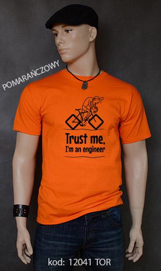 koszulka męska TRUST ME I'M AN ENGINEER kolor pomarańczowy