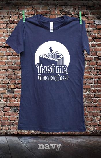 koszulka damska TRUST ME I'M AN ENGINEER kolor navy