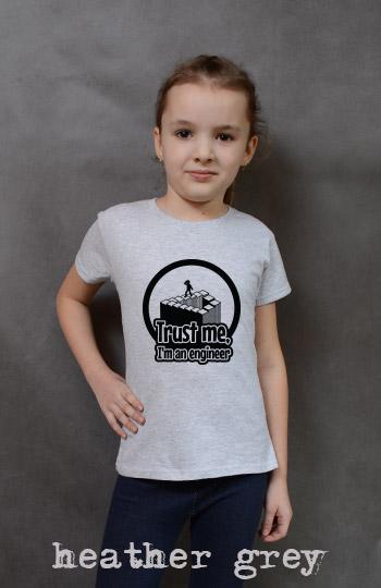 koszulka dziewczęca TRUST ME I'M AN ENGINEER kolor heather grey