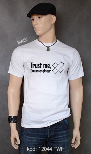 koszulka męska TRUST ME I'M AN ENGINEER kolor biały