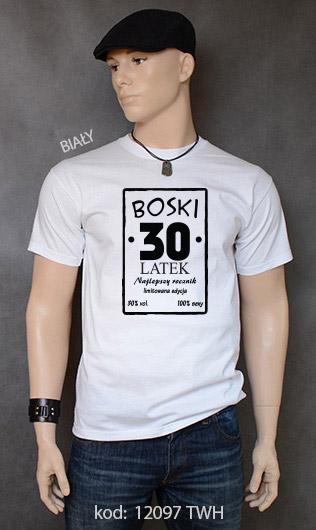 koszulka męska BOSKI 30 LATEK kolor biały