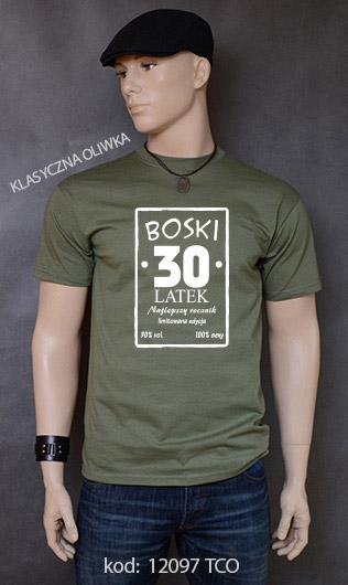 koszulka męska BOSKI 30 LATEK kolor klasyczna oliwka