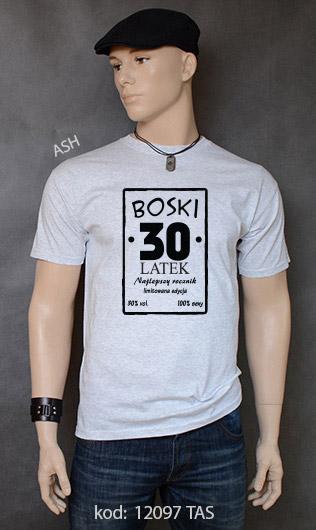 koszulka męska BOSKI 30 LATEK kolor ash