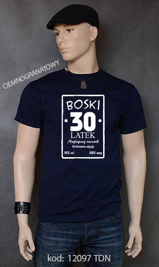 koszulka męska BOSKI 30 LATEK kolor ciemnogranatowy